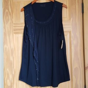 Women's Coldwater Creek Navy Blue Beaded Tank XL